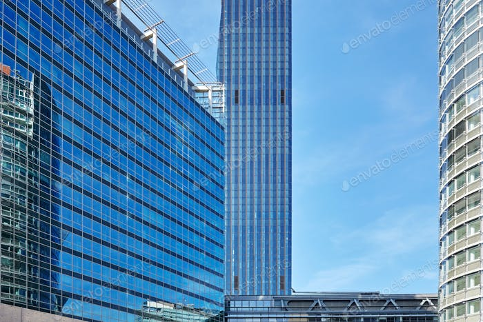 Close up picture of modern buildings in Vienna Donau city comple