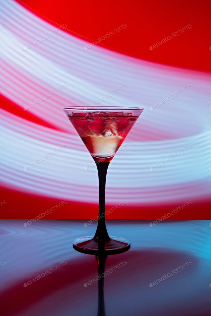 Martini glass with ice against