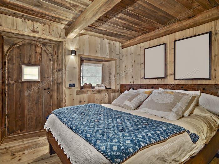 Interiors of a Rustic Bedroom
