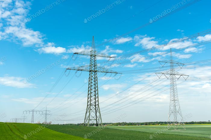 High-voltage lines on a sunny day