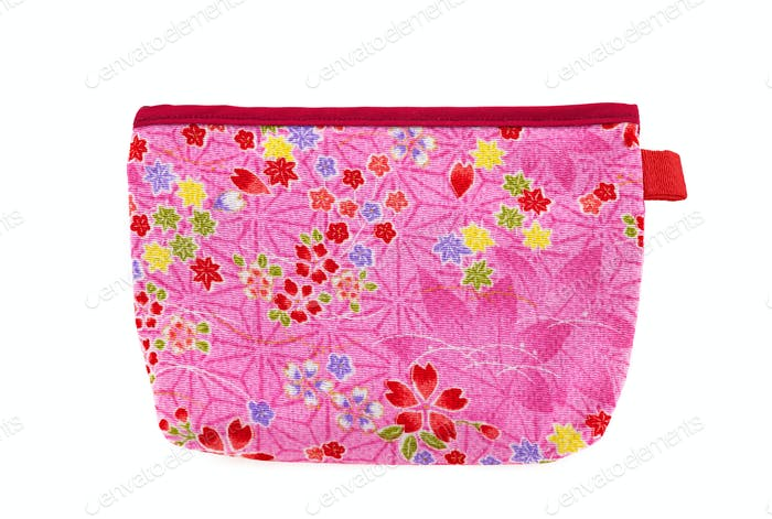 Pink and red flower pocket bag with leaves and hearts