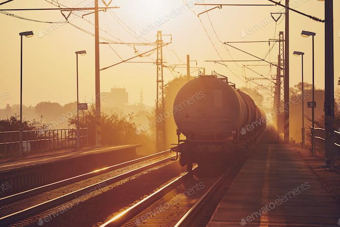 Freight train at sunrise