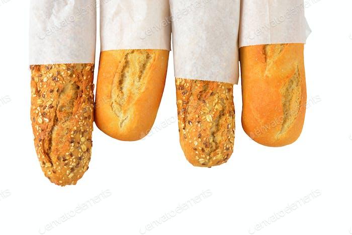 Weiß- und Vollkorn-Baguettes