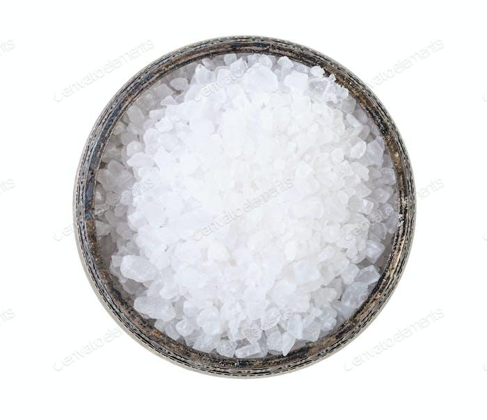 top view silver salt cellar with coarse Sea Salt