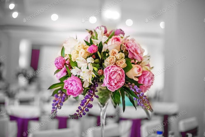 Beautiful flowers. Wedding decor. The concept of a party and wed