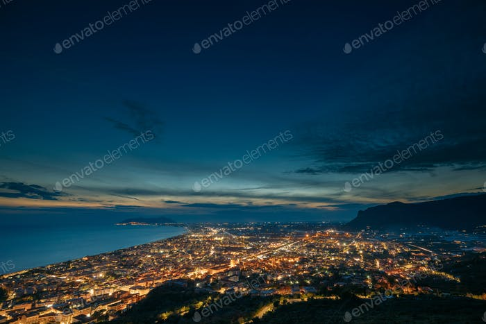 Terracina, Italy. Top View Skyline Cityscape City In Night Illum