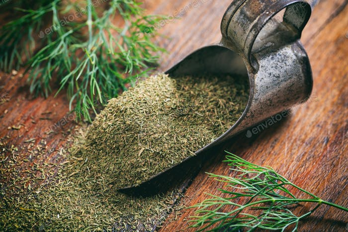 Fresh and dried dill on a wooden table