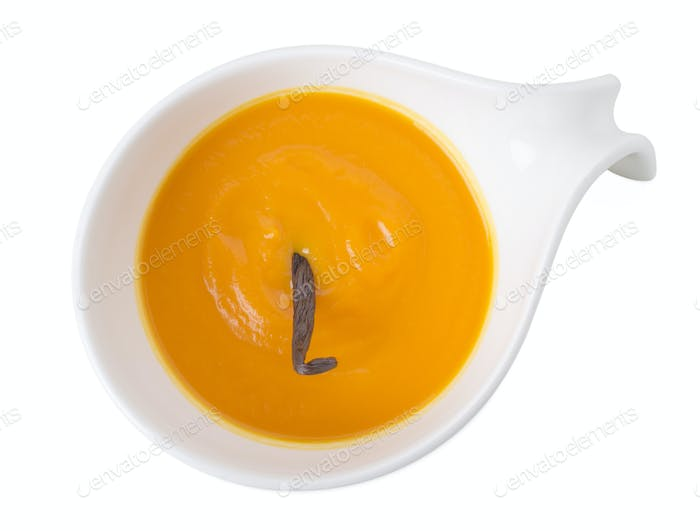 Pumpkin cream soup with vanilla aroma.