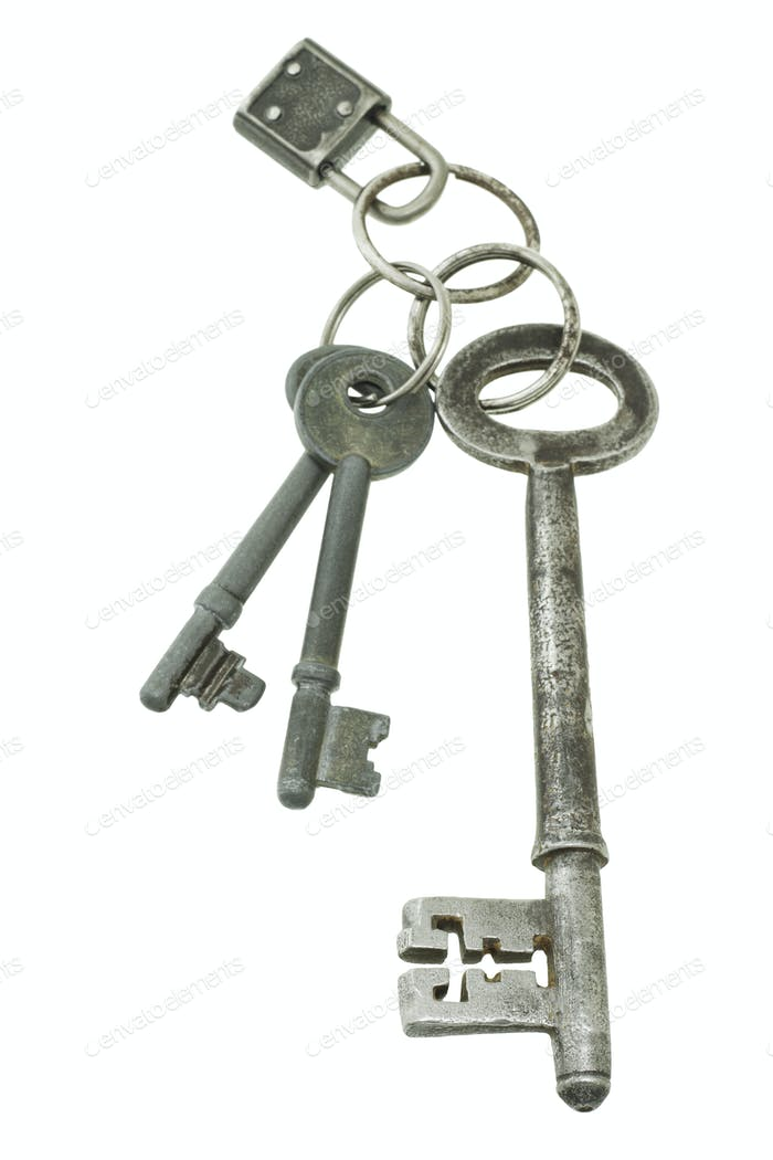 Old keys with mini pad lock
