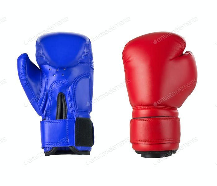 Boxing gloves on a white