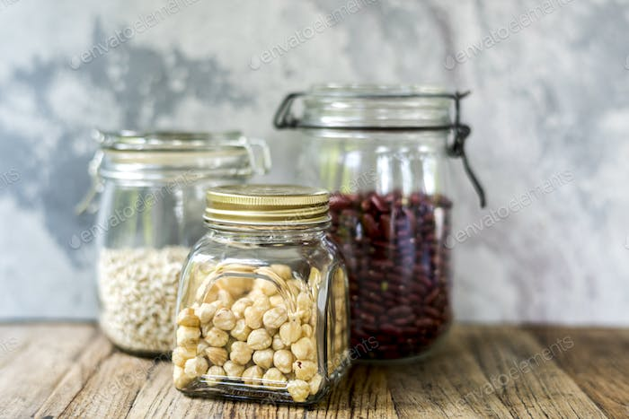 Variety beans in the glass jar