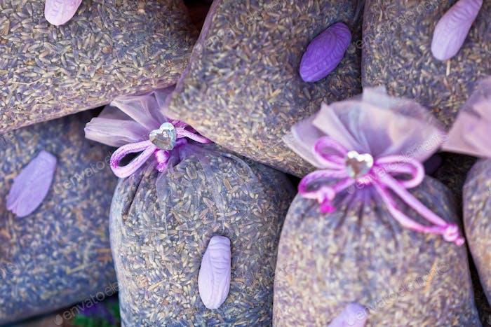 Dried lavender sachets basket