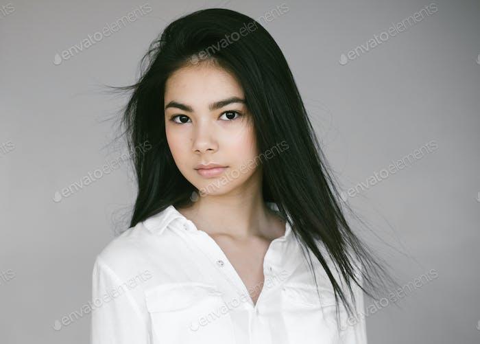 Young beautiful asian woman girl model portrait.