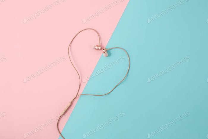 The rose female headphones on colorful background