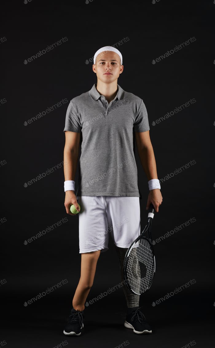 Disabled sportsman playing tennis