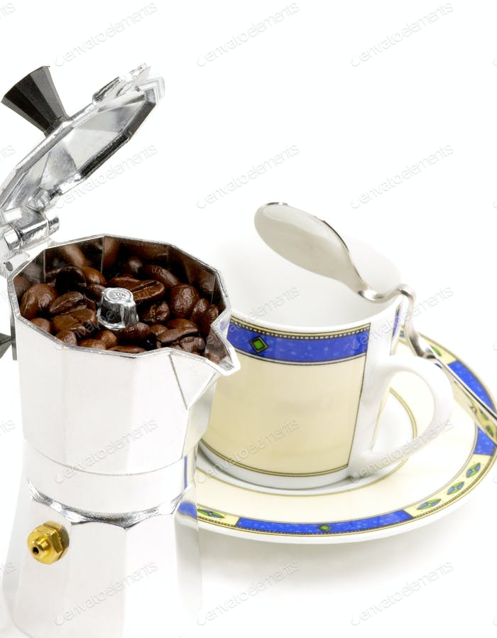 mocha coffee machine and cup