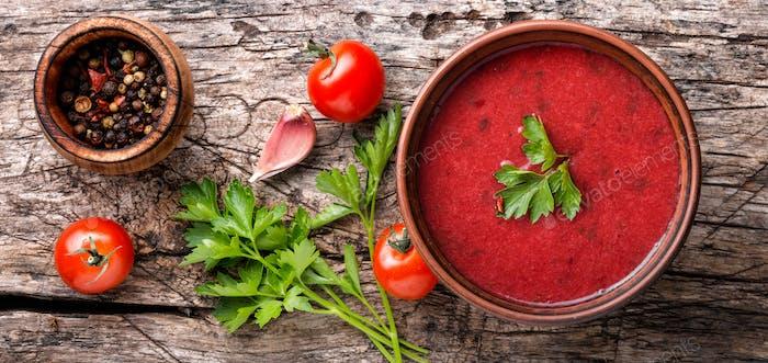 Tomato gazpacho soup