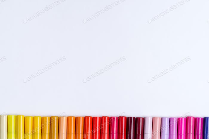 Painting multicolored border wave from colorful markers for art creativity on a white background