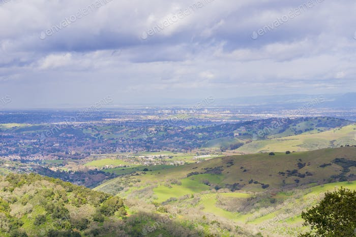 View towards downtown San Jose on a stormy day, south San Francisco bay, California