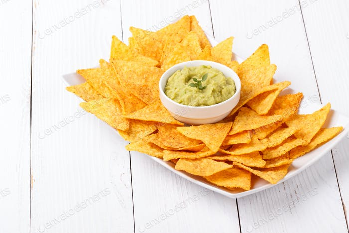 Guacamole sauce with chips