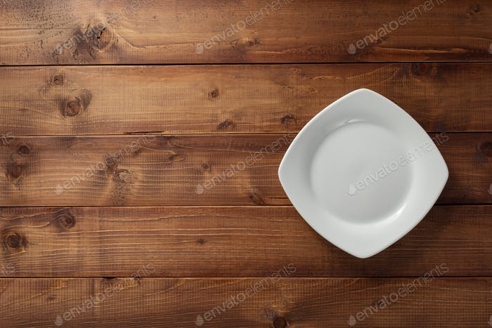 empty plate on wood
