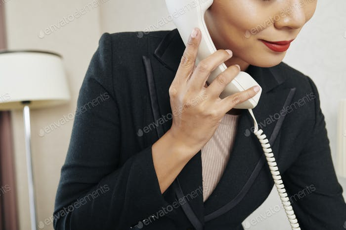 Businesswoman has a conversation on the phone