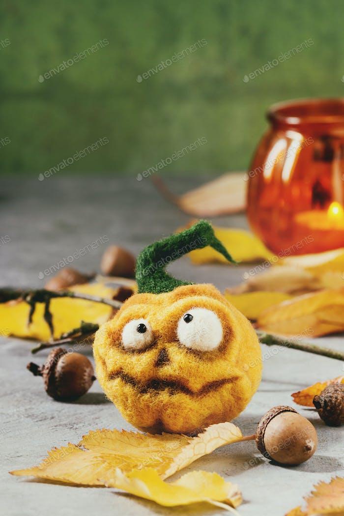 Halloween needle felted pumpkin