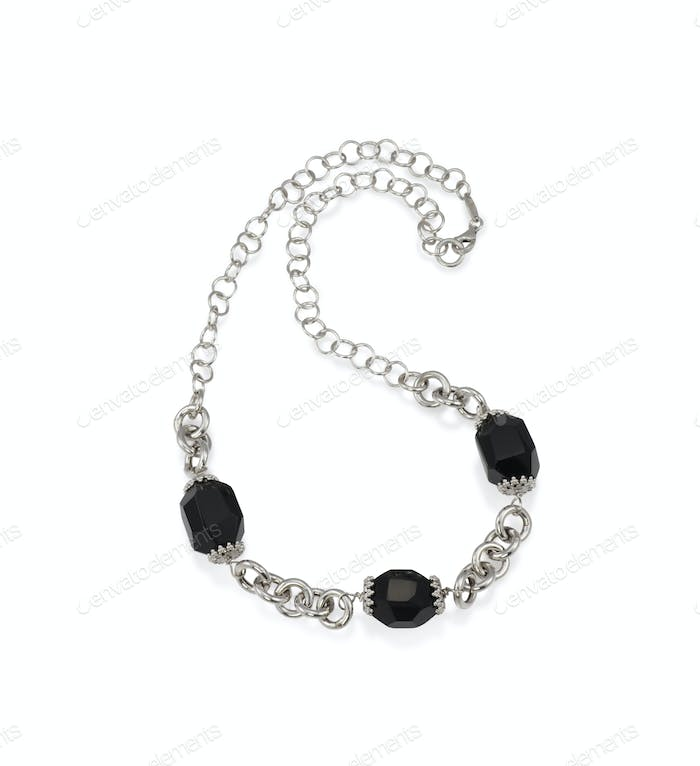 Beautiful Onyx Bead Crystal Necklace with Silver Chain Isolated on white.