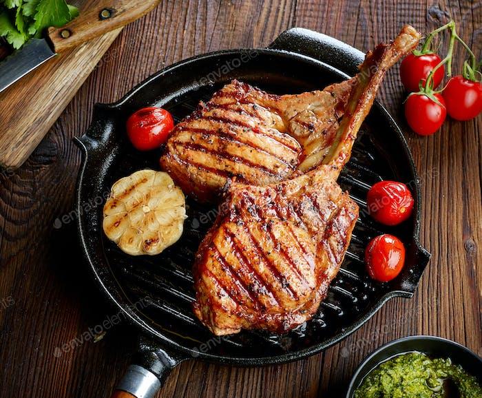 freshly grilled steaks