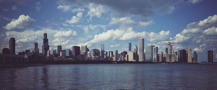 Panoramic view of skyline in Chicago