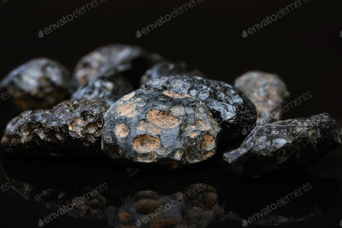 Tektite (meteorite glass) Closeup