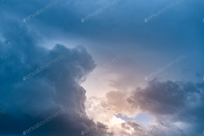 Moody view of dark dramatic storm clouds