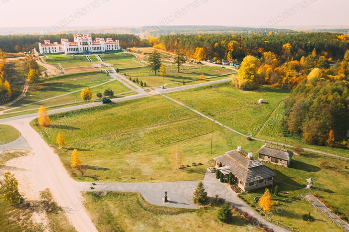 Kosava, Belarus. Aerial Bird's-eye View Of Famous Popular Historic Landmarks Kosava Castle And