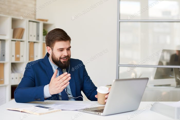 Businessman Talking by Video Call