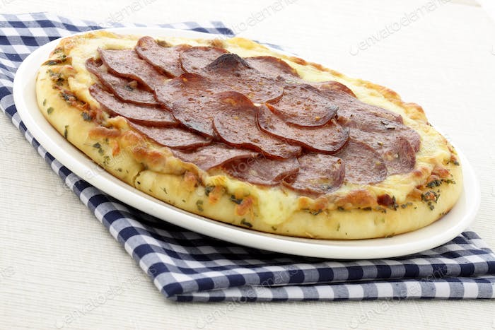 salami and pepperoni pizza