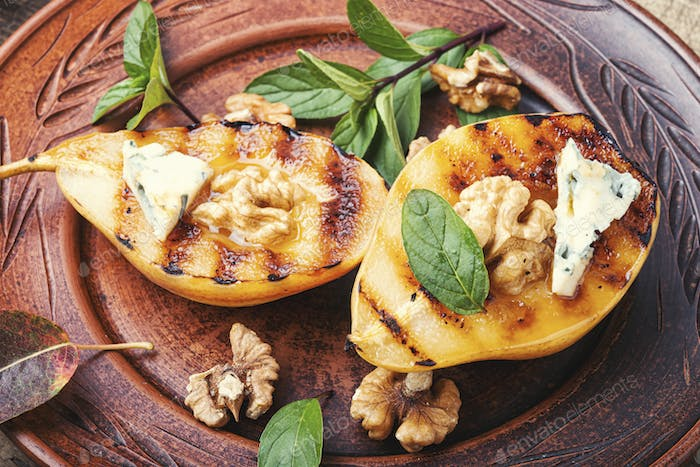 Grill pear with walnut
