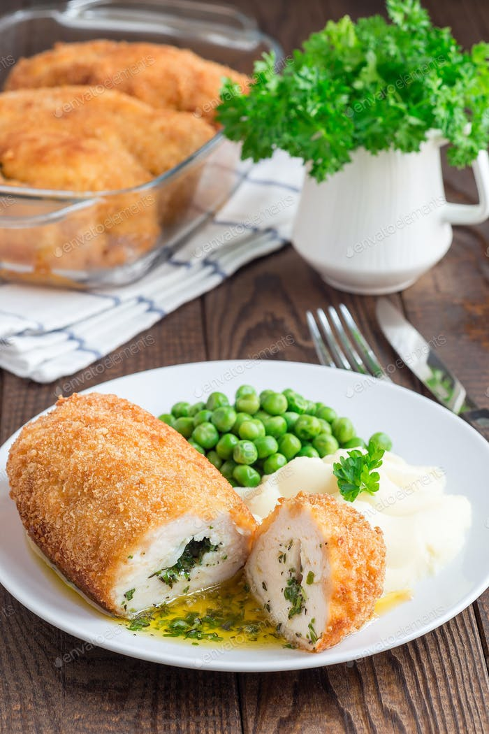 Chicken Kiev, ukrainian cuisine. Cutted chicken cutlet in bread