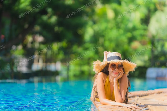 Thumbnail for Portrait beautiful young asian woman leisure relax smile and hap