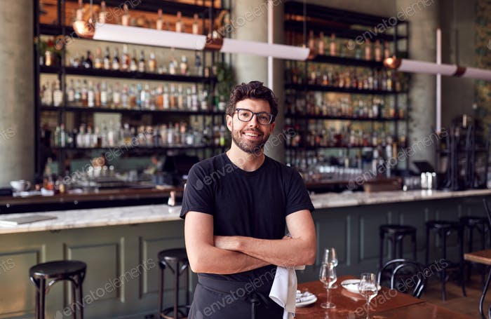 Porträt Von Männlichen Kellner Stehen In Bar Restaurant Vor dem Service