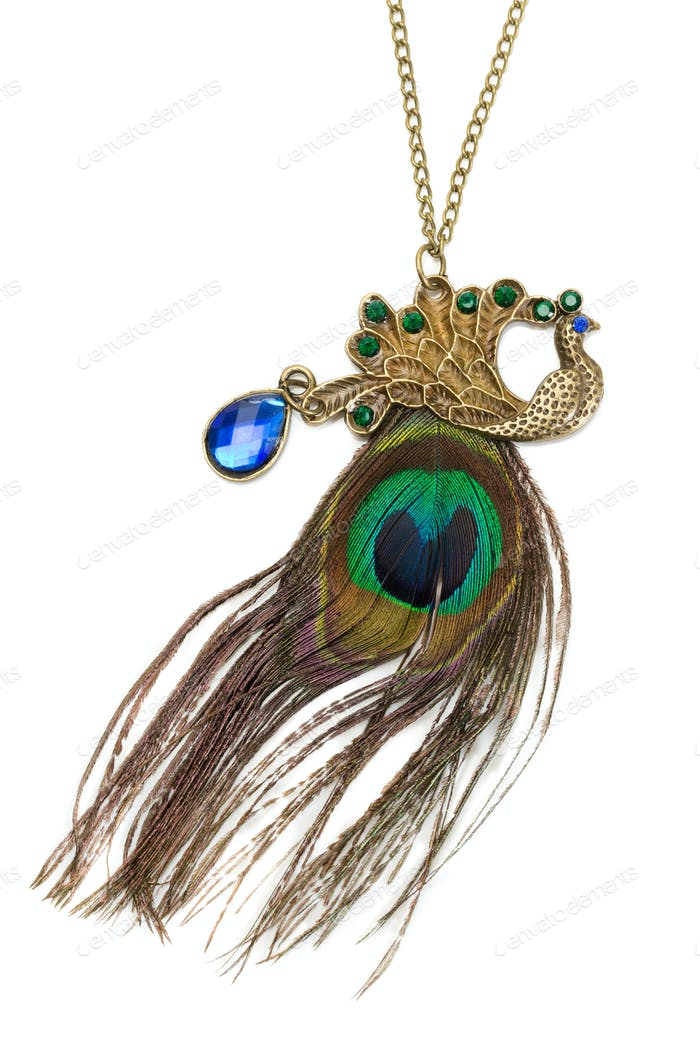 Necklace on a chain, blue stone and peacock feather.