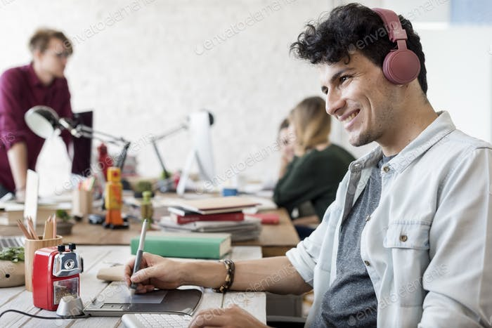 Handsome Man Working Creative Listening Music Concept