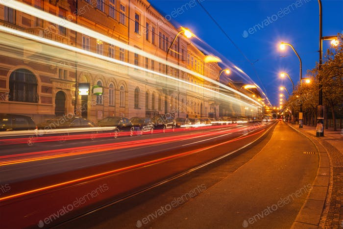 Blurred light trails of Prague tram. Prague, Czech republic