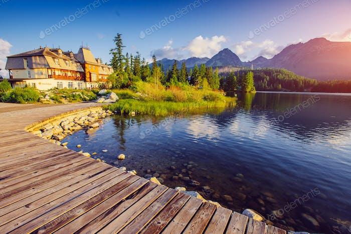 Majestic mountain lake in National Park High Tatra. Strbske pleso, Slovakia, Europe