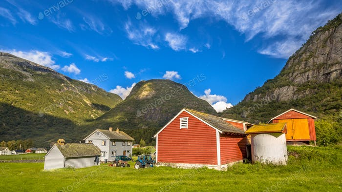 Barns in a norwegian farm village