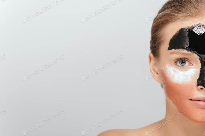 Close up half of young attractive woman with different cosmetic