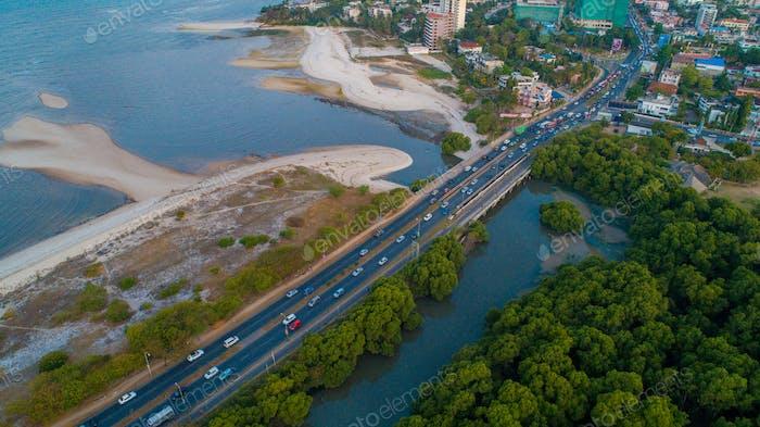 aerial view of the selander bridge, Dar es Salaam