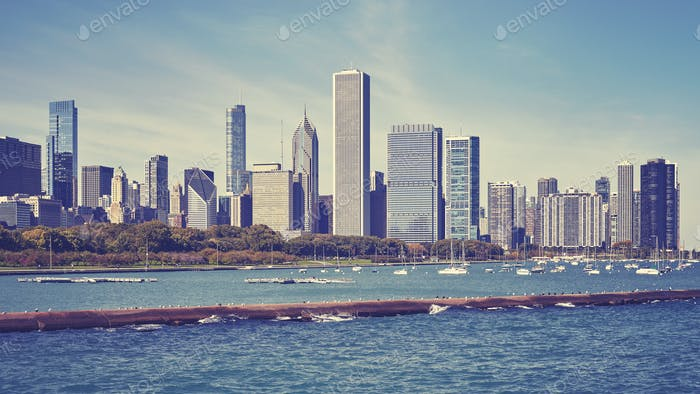 Vintage toned Chicago waterfront and city skyline, USA.