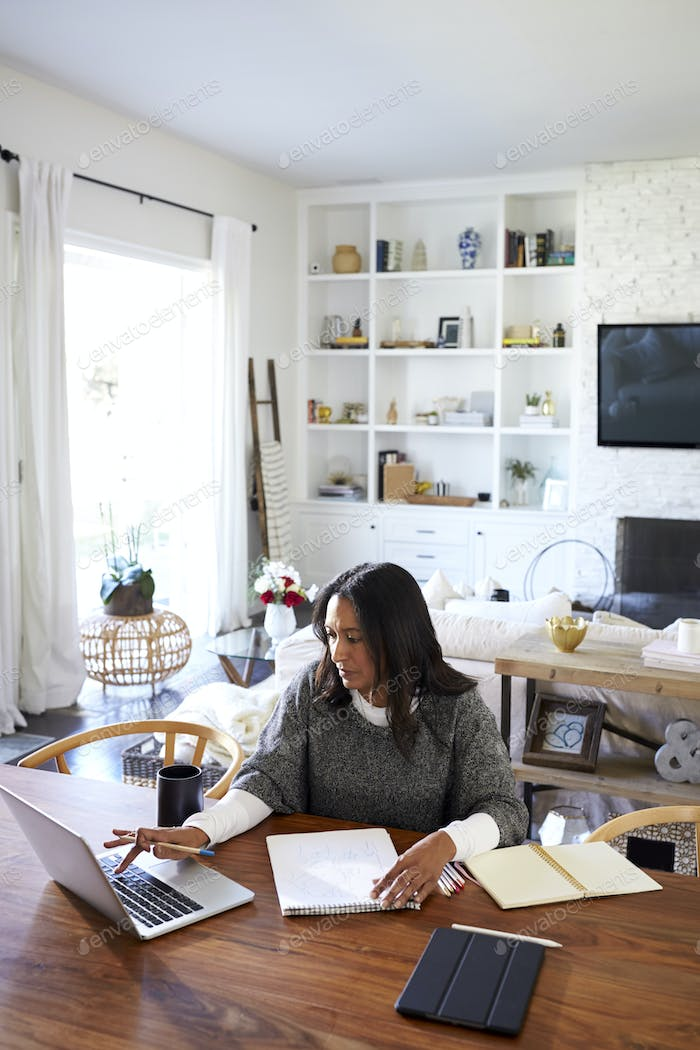 Middle aged mixed race woman sitting at the table using a laptop computer