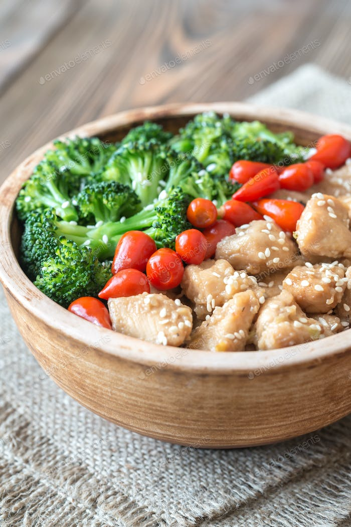 Bowl of broccoli and chicken stir-fry