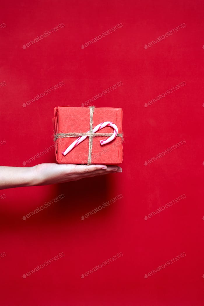 Womans hand holding a box gift with christmas lollipop on red ba